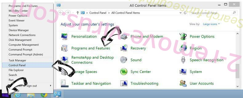 Delete Quick4search.com from Windows 8