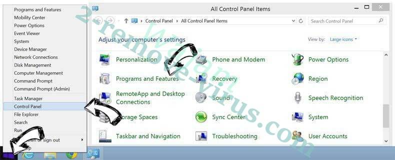 Delete Rutube extension from Windows 8