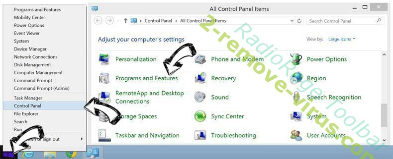 Delete RadioRage Toolbar from Windows 8