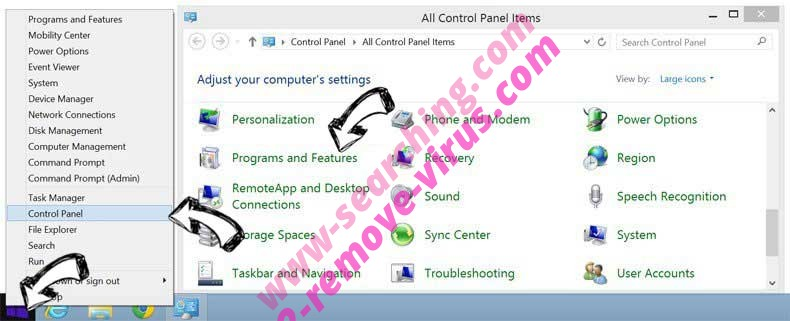 Delete Picexa from Windows 8