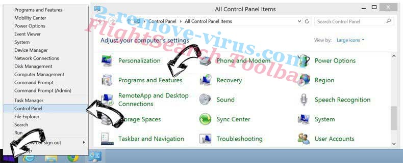 Delete FlightSearch Toolbar from Windows 8