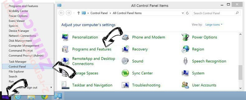 Delete Call Immediately Toll-Free POP-UP Scam from Windows 8