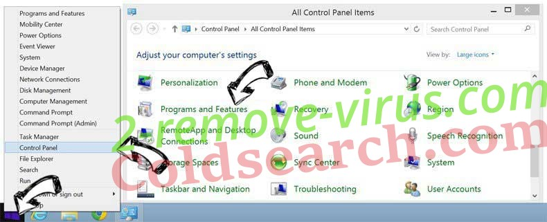 Delete Rimuovere Coldsearch.com from Windows 8