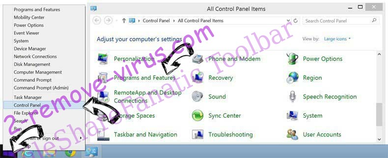 Delete FileShareFanatic Toolbar verwijderen from Windows 8