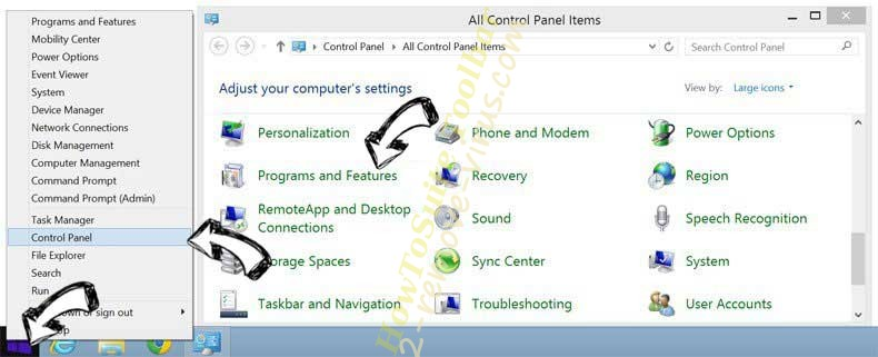 Delete Rimuovere Baidu Toolbar from Windows 8