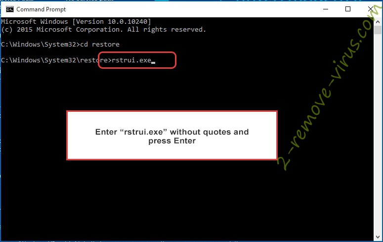 Delete M0on ransomware - command prompt restore execute