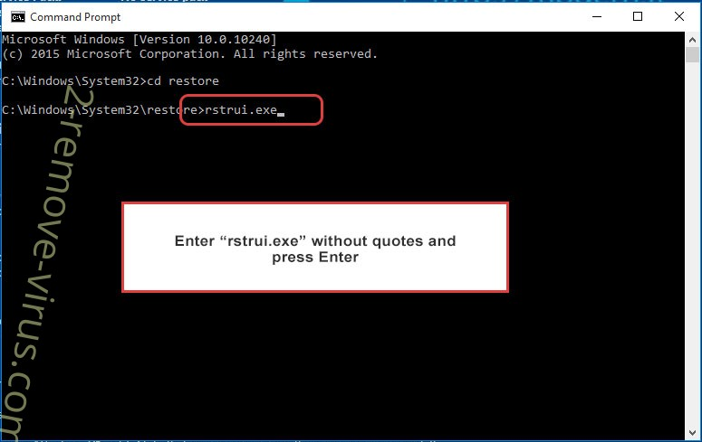 Delete Cryptolockeremulator - command prompt restore execute