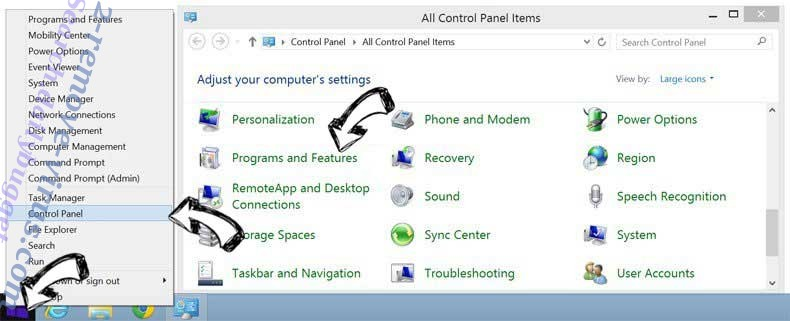 Delete Comumx.site from Windows 8