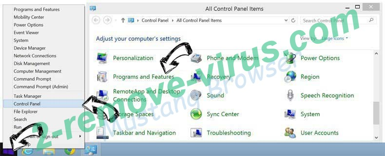 Delete Split Tabs adware from Windows 8
