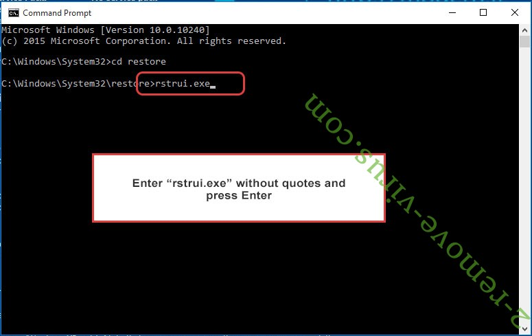Delete Stinger Virus - command prompt restore execute