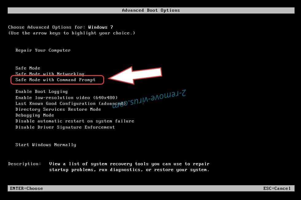 Remove Gedantar ransomware - boot options