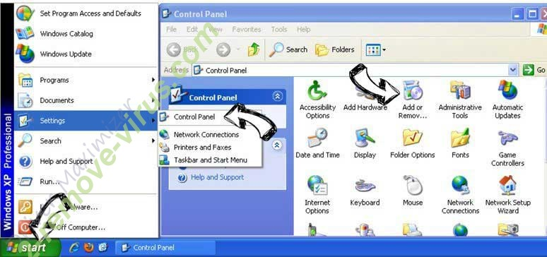 Remove Snow.cfdlstart.com from Windows XP