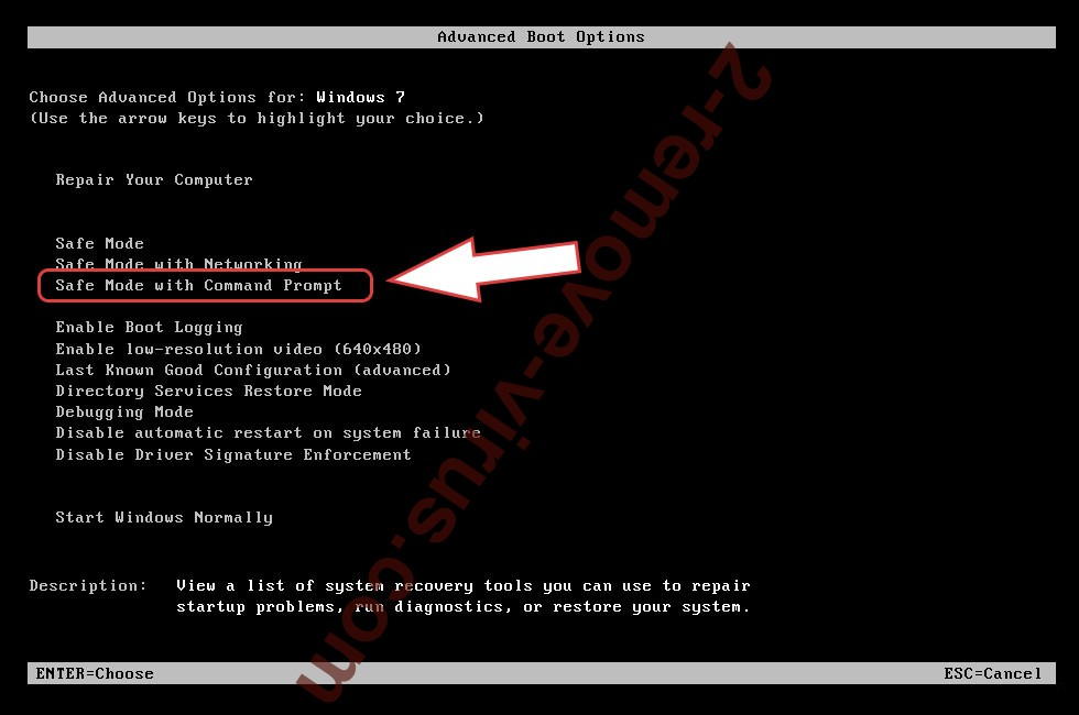 Remove DN Ransomware - boot options