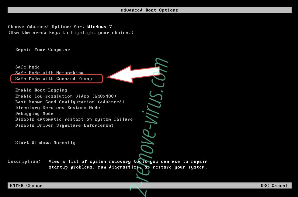 Remove Erebus ransomware - boot options