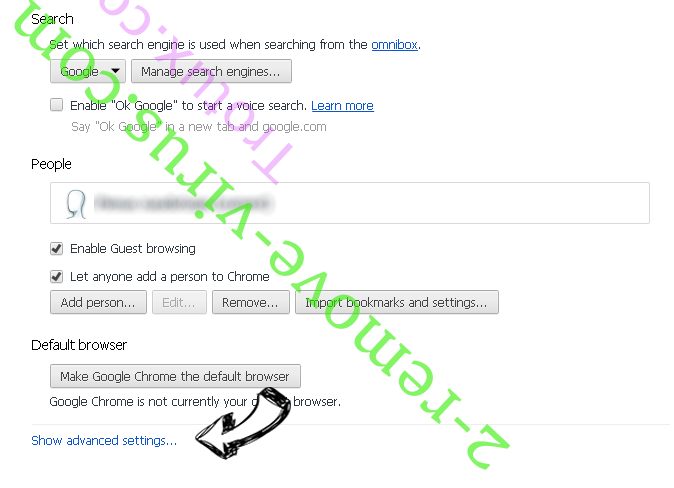 Search.com entfernen Chrome settings more