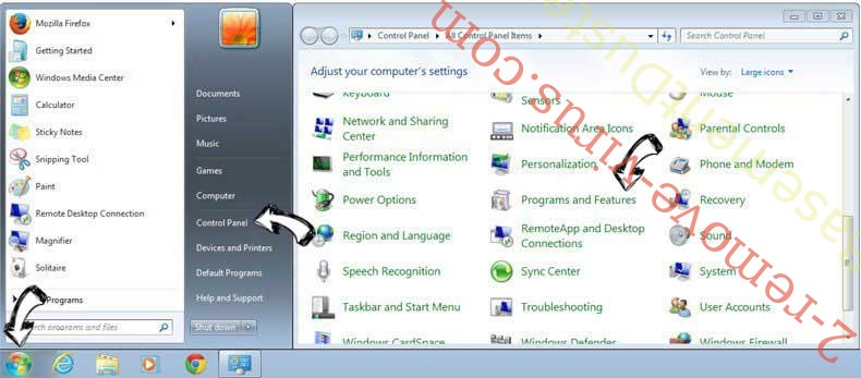 Uninstall InitialSite123.com from Windows 7