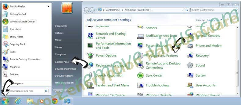 Uninstall Refrebrepheon.info from Windows 7