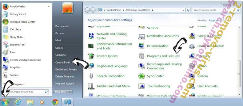 Uninstall Mybeginning123.com from Windows 7