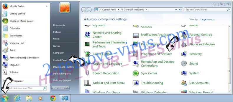 Uninstall HELP_YOUR_FILES Virus from Windows 7