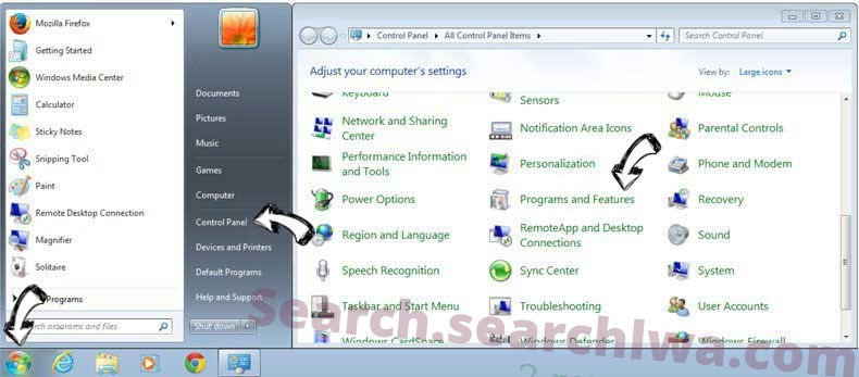 Uninstall Searchlock3.com from Windows 7