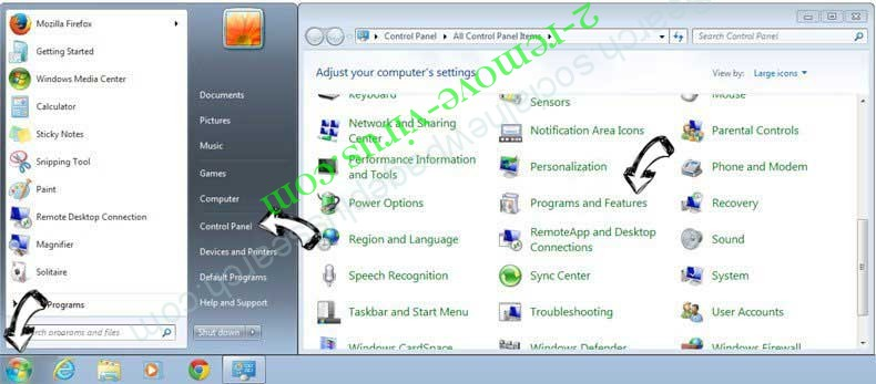 Uninstall Social2Search from Windows 7