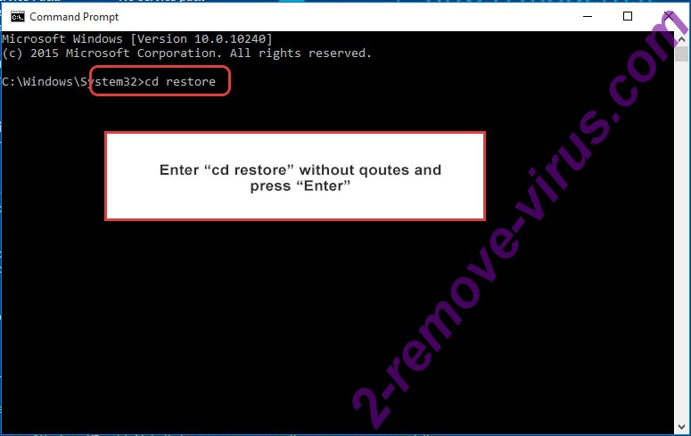 Uninstall Jokers House Ransomware - command prompt restore