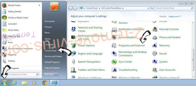 Uninstall Navigation.iwatchavi.com from Windows 7