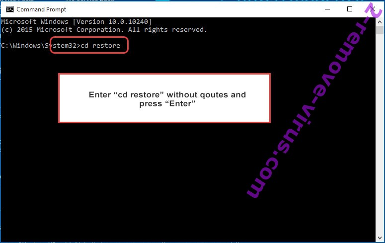 Uninstall Tro Ransomware - command prompt restore