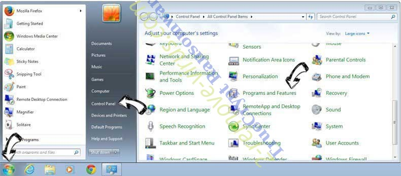 Uninstall Search.littlefighter2-toolbar.com from Windows 7