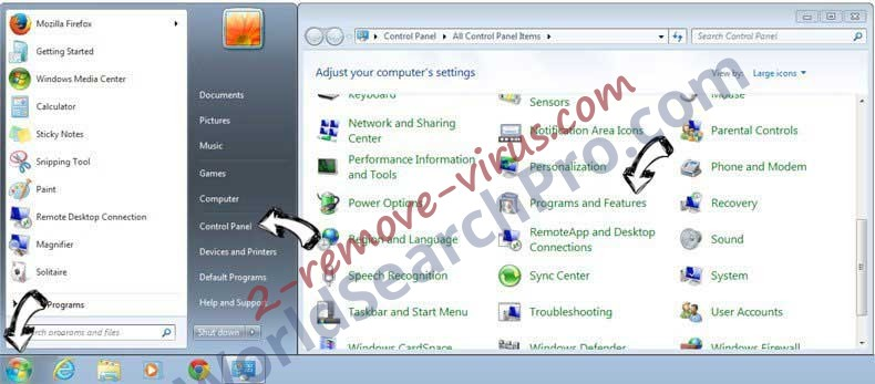 Uninstall Rimuovere WorldSearchPro.com from Windows 7