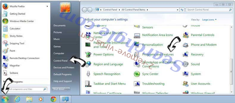 Uninstall MySmart123.com from Windows 7