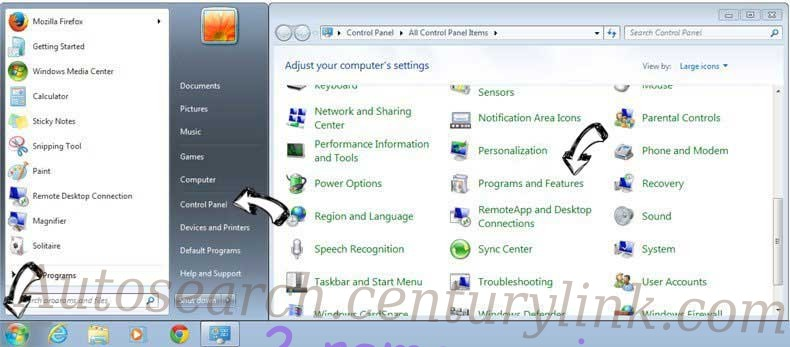Uninstall Searchjourney.net from Windows 7
