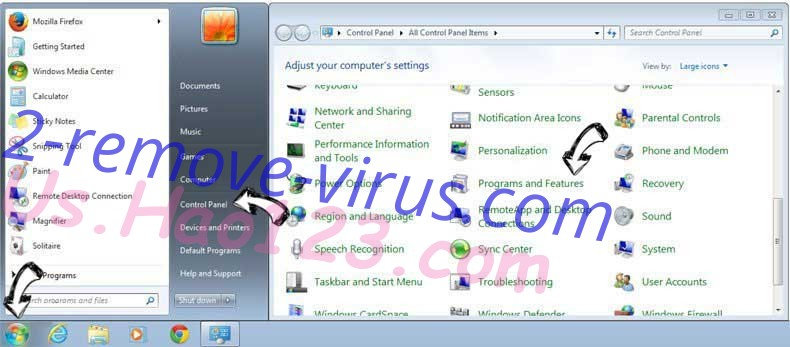 Uninstall .Kratos file virus from Windows 7