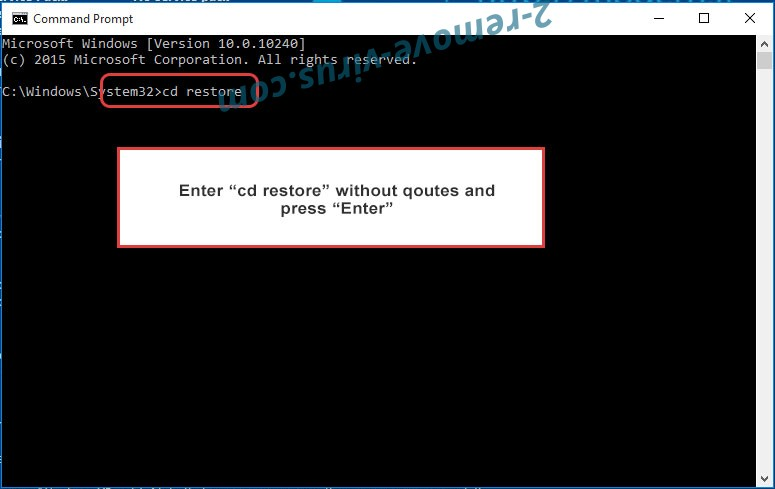 Uninstall Cezor ransomware - command prompt restore