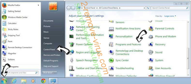 Uninstall 100searchengines.com entfernen from Windows 7