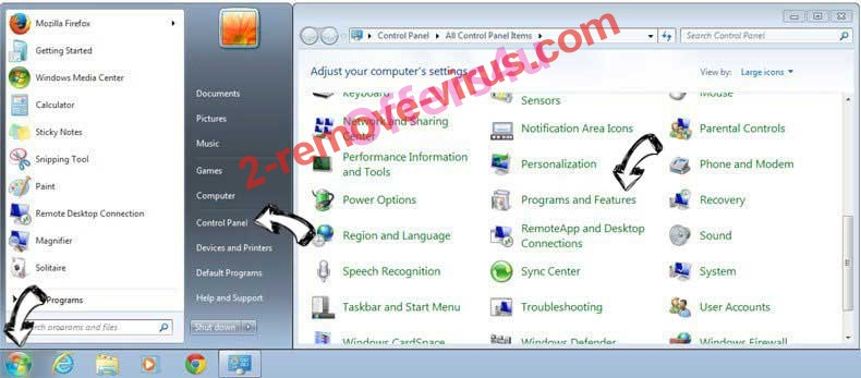 Uninstall mytrustsearch.com from Windows 7