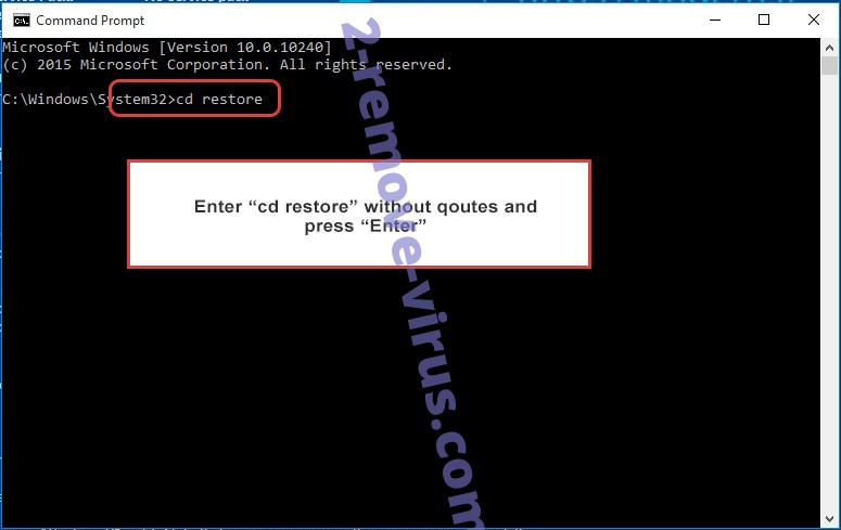 Uninstall 725 Ransomware - command prompt restore