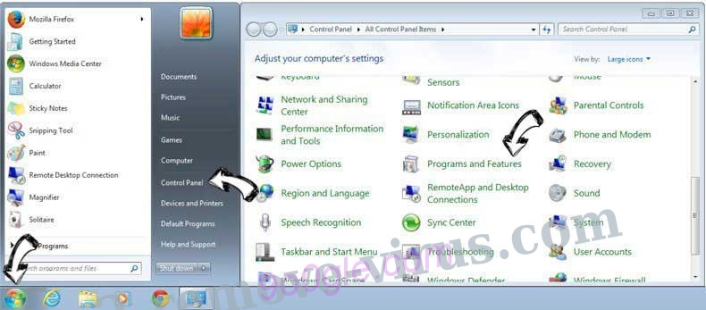Uninstall Newstartsearch.com from Windows 7