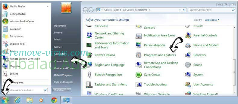 Uninstall Cassiopesa.com from Windows 7