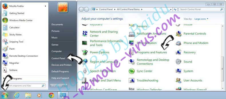 Uninstall Hao123 by Baidu from Windows 7