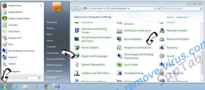 Uninstall SupTab from Windows 7