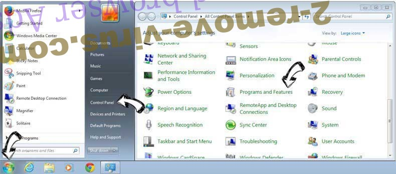Uninstall gosearch.me from Windows 7