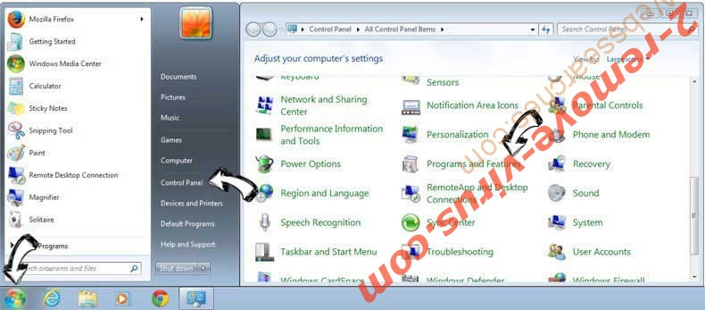 Uninstall PlusNetwork.com from Windows 7