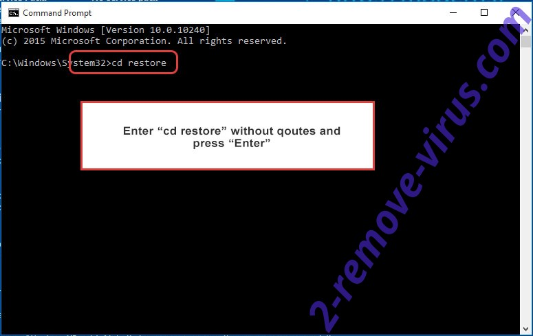 Uninstall Atom Ransomware - command prompt restore
