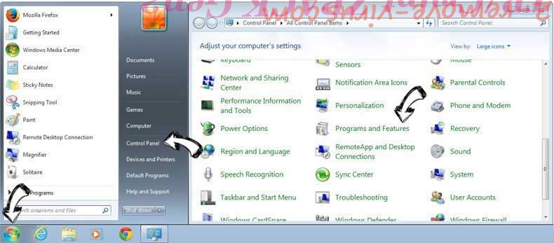 Uninstall Sardavella.xyz from Windows 7