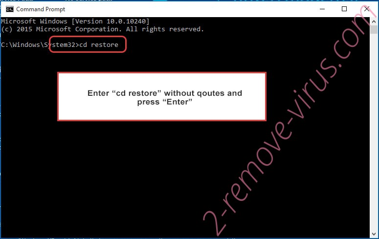 Uninstall Il tuo computer e stato infettato da Cryptolocker! - command prompt restore