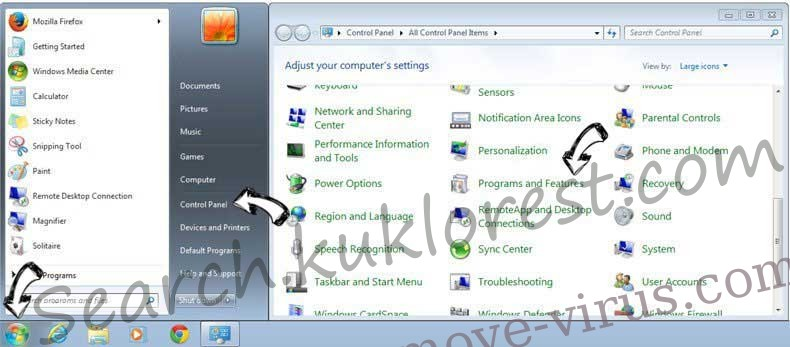 Uninstall Search.kuklorest.com from Windows 7