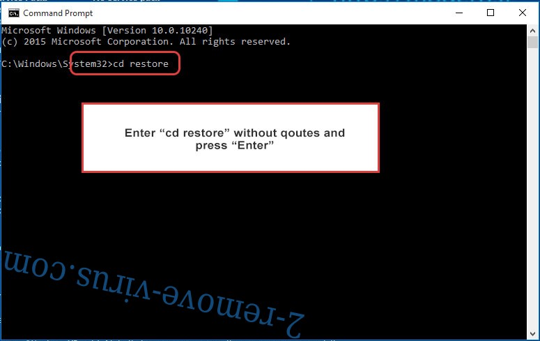 Uninstall Rotor ransomware virus - command prompt restore