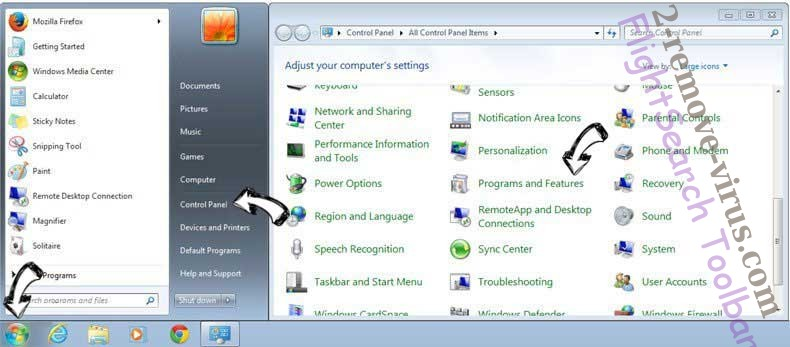 Uninstall FlightSearch Toolbar from Windows 7