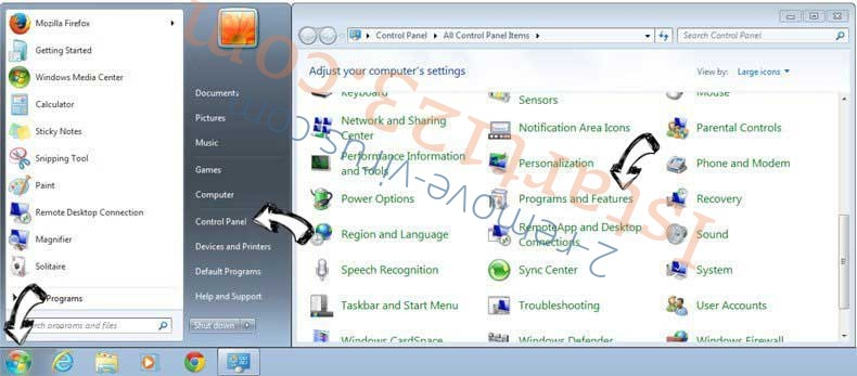 Uninstall Istart123.com from Windows 7